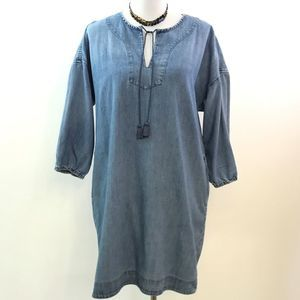 Loft Lounge Blue Chambray Shift Dress M